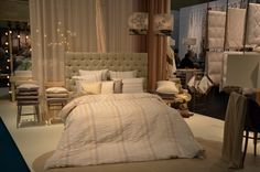 The stand of Christian Fischbacher in Frankfurt, 14 - 17 Jan New bed linen design WAVE. Dinosaur Toddler Bedding, Matching Bedding And Curtains, Bed Linen Design, Display Homes, Luxury Bedding Sets, New Beds, Headboards For Beds, Linen Bedding, Bed Linens