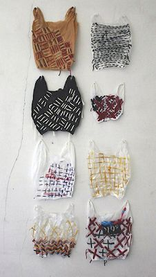 Josh Blackwell - embroidered plastic bags, I thought they were hats for cats, I guess that's just my strange imagination at work ; A Level Textiles, Plastic Art, Plastic Spoons, Textiles Techniques, Recycled Art, Recycled Clothing, Recycled Fashion, Fabric Manipulation, Textile Artists