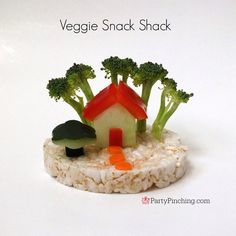 Veggie Snack Shack - cute food made of vegetables and rice cakes tutorial by PartyPinching.com