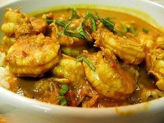 Jamaican Curry Shrimp-Made this today, I'm not a fan of seafood so I used stewing beef with just a few shrimp for the people who like them. It was delicious :)