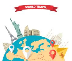 World Adventure Travel vector art illustration