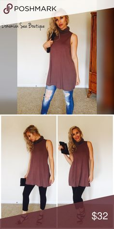 ✨HOST PICK✨Must-Have Mini Dress or Tunic Love this piece ❤️Such a gorgeous soft brown, very comfort and loose fitting. Non Sheet. Excellent material always. Loose turtle neck style. Sleeveless. Bohemian Sea Dresses Mini