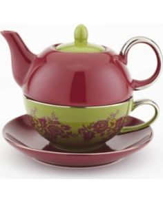 Yedi Houseware CC372 Tea for One Teapot and Teacup, Red and Green