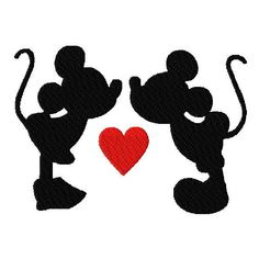 Walt Disney Mickey Mouse and Minnie Kissing in Silhouette Valentine's Day Stitched Machine Embroidery Design in Tons of Sizes ($2.99) found on Polyvore