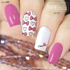 Prueba Pink Glitter Nails, Pink Manicure, Pink Nail Art, Silver Nails, Shellac Nails, Toe Nails, Stiletto Nails, Acrylic Nails, Valentine's Day Nail Designs
