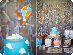 Kite theme ~ cake, backdrop, colors etc..
