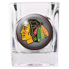CHICAGO BLACKHAWKS SQUARE SHOT GLASS - 2 OZ.