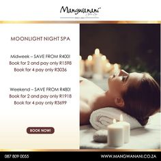 Experience a magical night with your partner or go with friends and expience a Moonlight Night Spa package at Mangwanani before the end of October 2020, for less. Discover more by visiting the link below: Spa Therapy, Spa Packages, Welcome Drink, Romantic Night, Moonlight, October, Friends, Link, Romantic Evening