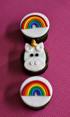 Fondant Rainbow and Unicorn Cupcake Toppers