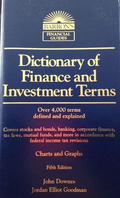 Baron's Dictionary of Finance and Investiment Terms Downes Goodman 5th Ed New | eBay