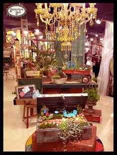 "My new miniature garden line, ""Gypsy Garden"", I developed for @Allison Dupuis Works, Ltd / Studio M!  #miniature #mini #garden #fairy #wagon #suitcase #planter #Genevieve #Gail"