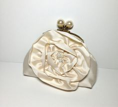 Ivory Dupioni Silk Pearl Framed Clutch by lynniebbridal on Etsy, $52.00