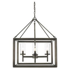 Featuring a beveled cage design, this sleek pendant offers understated style for your kitchen or dining room.    Product: Mini cha...
