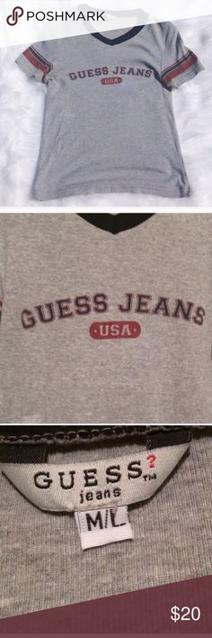 Guess Jeans Short Sleeve Baseball Tee Size M/L Guess Jeans. Size M/L. Baseball style Tee. Short sleeve. Guess Tops Tees - Short Sleeve