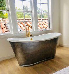 'The Cast Iron French Bateau Tub with Aged Chrome Exterior and Drain Old Bathtub, Cast Iron Bathtub, Clawfoot Bathtub, Metal Finishes, White Enamel, Tubs, Faucet, Bathrooms, Chrome