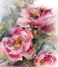 Pink Peonies Original Watercolor Painting, Botanical Watercolour Art, Painting of Flowers One of a Kind Art Watercolour Art Scale: 8.5x10.5 (22x27 cm) Medium: top branded watercolor paints on Canson water color paper 140 lb (300g) Signed front and back Dated on the back. Not framed. All