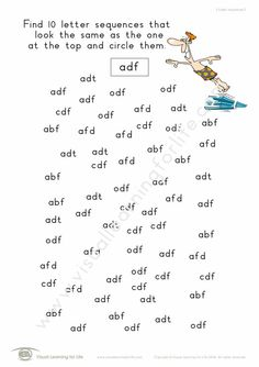 """In the """"3 Letter Sequences"""" worksheets, the student must find 10 of the same sequence as the one at the top of the page. Learning For Life, Visual Learning, Figure Ground Perception, 3 Letter, Comprehension, Worksheets, Relationship, Student, Lettering"""
