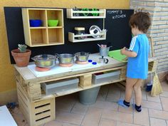 I like this for an outdoor play kitchen/BBQ.  mommo design: 3 PALLET PROJECTS FOR KIDS