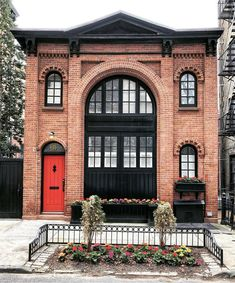 Arched Windows, Big Windows, Red Brick Exteriors, Brick Architecture, Brooklyn Heights, Enchanted Home, Grey Houses, A Frame Cabin, Front Door Colors