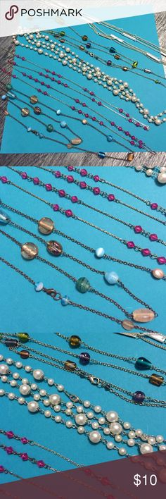 5 long necklaces White pearls, White & silver, pink beads, tan & blue, tan green purple blue Jewelry Necklaces