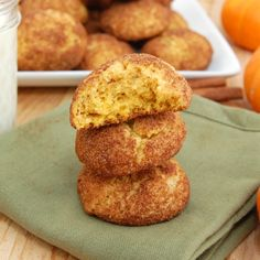 PRINT SAVE Pumpkin Snickerdoodles This spin on the classic snickerdoodle are kicked up a notch with the addition of pumpkin puree and pumpkin pie spice. If you love regular snickerdoodles, you'll flip for this delicious ver Cookie Desserts, Just Desserts, Cookie Recipes, Delicious Desserts, Dessert Recipes, Yummy Food, Healthy Food, Healthy Eating, Yummy Cookies