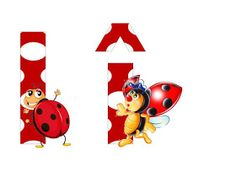 S.T.R.U.M.F.: Litere mari si cifre buburuze Alphabet, Flag, Collage, Christmas Ornaments, Holiday Decor, Reptiles, Insects, Ladybugs, Wall