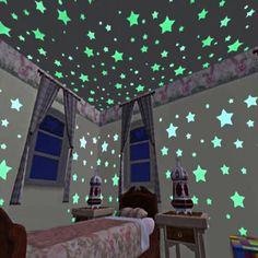 100 piezas resplandor en el oscuro cuarto de cuarto Color fluorescentes  luminosos pegatinas para niños juguete abcbf2e6a5e33