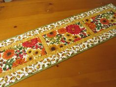 Quilted Table Runner Fall Flowers and Oak by PatchworkMountain