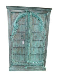 VINTAGE CABINET arched doors BLUE PATINA ANTIQUE ARMOIRE INDIAN FURNITURE #RomanticShabby