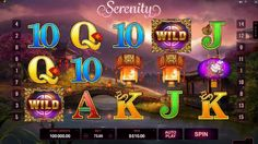 """Online slot """"Serenity"""" Visually, it's a gorgeous game with a beautiful backdrop scene of mountains, trees and buildings with a lake and a bridge. http://www.gamesandcasino.com/slots/serenity.html"""