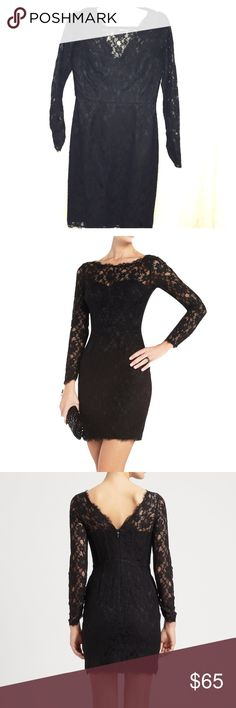 BCBG long sleeve cocktail dress Worn once. Like new condition. Long sleeve. All over lace. Scoop neck and V back. BCBGeneration Dresses Long Sleeve