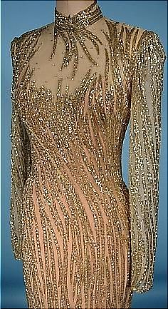 1980's BOB MACKIE Couture Gold, Silver Beaded and Rhinestoned Gown