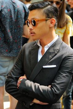 Black & White. Asian. Style. Gentlemen. Handsome. Fresh. Summer. Sunglasses. Classic. Pattern. Dots. Suit. Dressed. Proper. Men. Clothing. Street. Slim. Fit. Tailored.