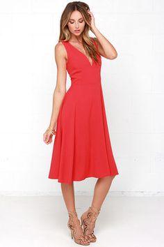 Lovely Red Dress - Midi Dress - Sleeveless Dress - $49.00
