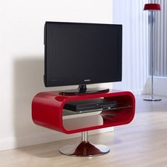Wade Logan Dundee TV Stand Finish: Red with Chrome Base Cool Tv Stands, Modern Bookcase, Dundee, Premium Wordpress Themes, Egg Chair, Clip Art, Design, Home Decor, Logan