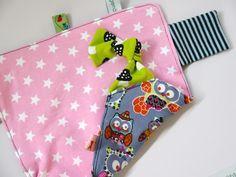 Knistertücher - großes Knistertuch mit Eulen und Sternen in rosa - ein Designerstück von traumgenaeht bei DaWanda
