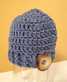SALE, Cotton Denim Button Flap Hat, Newborn, Crochet Baby Hat, Baby Beanie, Baby Boy, Winter Accessory, Photo Prop on Etsy, $12.50