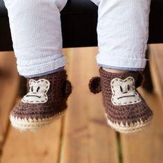 Animal Baby Booties - Crochet Monkey Baby Booties - Animal Baby Shoes - Newborn Photo Prop - Animal Baby Shower Gift - Baby Monkey Costume