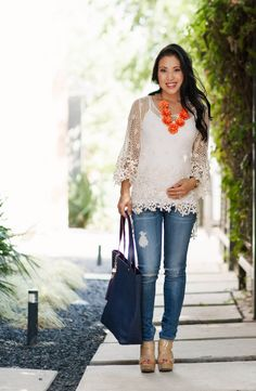 How to dress your baby bump: Baby blue off-the-shoulder top ...