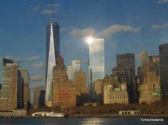 TURISCURIOSA EN USA: DÍA 11. LOWER MANHATTAN (I), LA ZONA CERO Y PASEO EN FERRY A STATEN ISLAND. Panorámica parcial del sur de Manhattan.