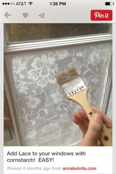 Modge podge lace to a window