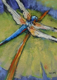Blue Dragonfly  5x7 Original Pastel Painting Karen Margulis. $75.00, via Etsy.