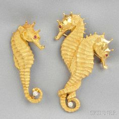 Two 18kt Gold and Diamond Seahorse Brooches