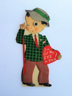 """This is an adorable large used vintage #Valentines Card of a boy holding a heart that says """"Ive got my eye on you!"""" He has a googly eye too! Great for scrapbooking or for your vintage ephemera collection!"""