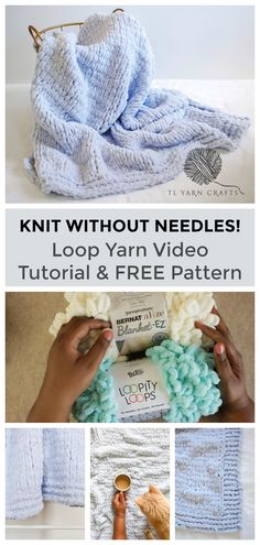 Have you knitted without needles? I tried loin yarn and was pleasantly surprised. Learn basic techniques and stitches using Loopity Loops and Blanket EZ in this quick video tutorial. Also try the new Knitflix throw blanket,. Finger Knitting Blankets, Arm Knitting, Knitted Blankets, Knitting Stitches, Knitting Patterns Free, Knitting Websites, Knitting Basics, Knitting Needles, Crochet Patterns