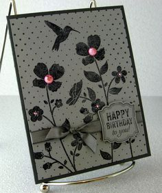 Choice of 3 Handmade Cards in Gray Monochrome by PaperCraftLady, $5.00