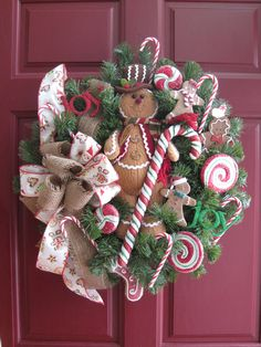 GINGERBREAD CHRISTMAS WREATH-15-Inch Gingerbread Man Cookies Candy Free Shipping