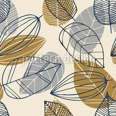 Leaf Paintings Pattern Design by Nataliia Fedorova at patterndesigns.com Vector Pattern, Pattern Design, Leaf Paintings, Painted Leaves, Painting Patterns, Warm Colors, Scandinavian Design, Surface Design, Your Design