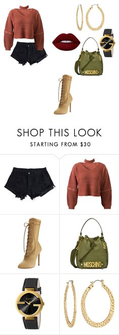 """""""Untitled #276"""" by carterraven on Polyvore featuring WithChic, Yeezy by Kanye West, Moschino, Gucci, Fragments and Lime Crime"""