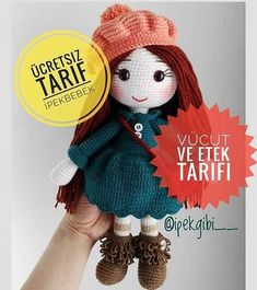 Handicraft has presented the baby amigurami paste to our advantage by posting the description of İpek Gibi amigurumi on its website. Crochet Gratis, Crochet Patterns Amigurumi, Amigurumi Doll, Knitted Dolls, Crochet Dolls, Amigurumi For Beginners, Crochet Disney, Crochet Teddy, Free Pattern